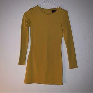 Mustard Long Sleeve Mini Dress